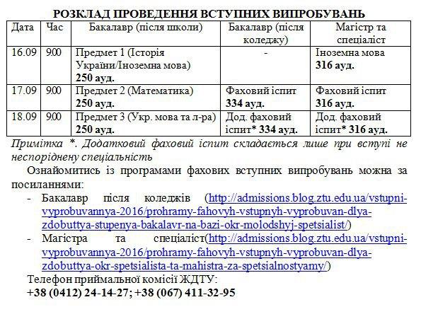 розклад проведення вступних випробувань при додатковому наборі6_3622185453750436576_n